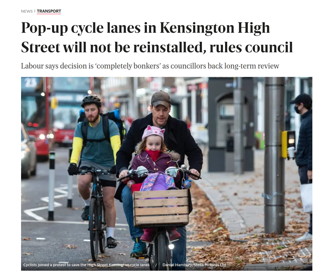 """Screenshot_2021-03-17 Wise move or """"completely bonkers """" Council refuses to reintroduce Kensington High Street cycle lanes .png"""